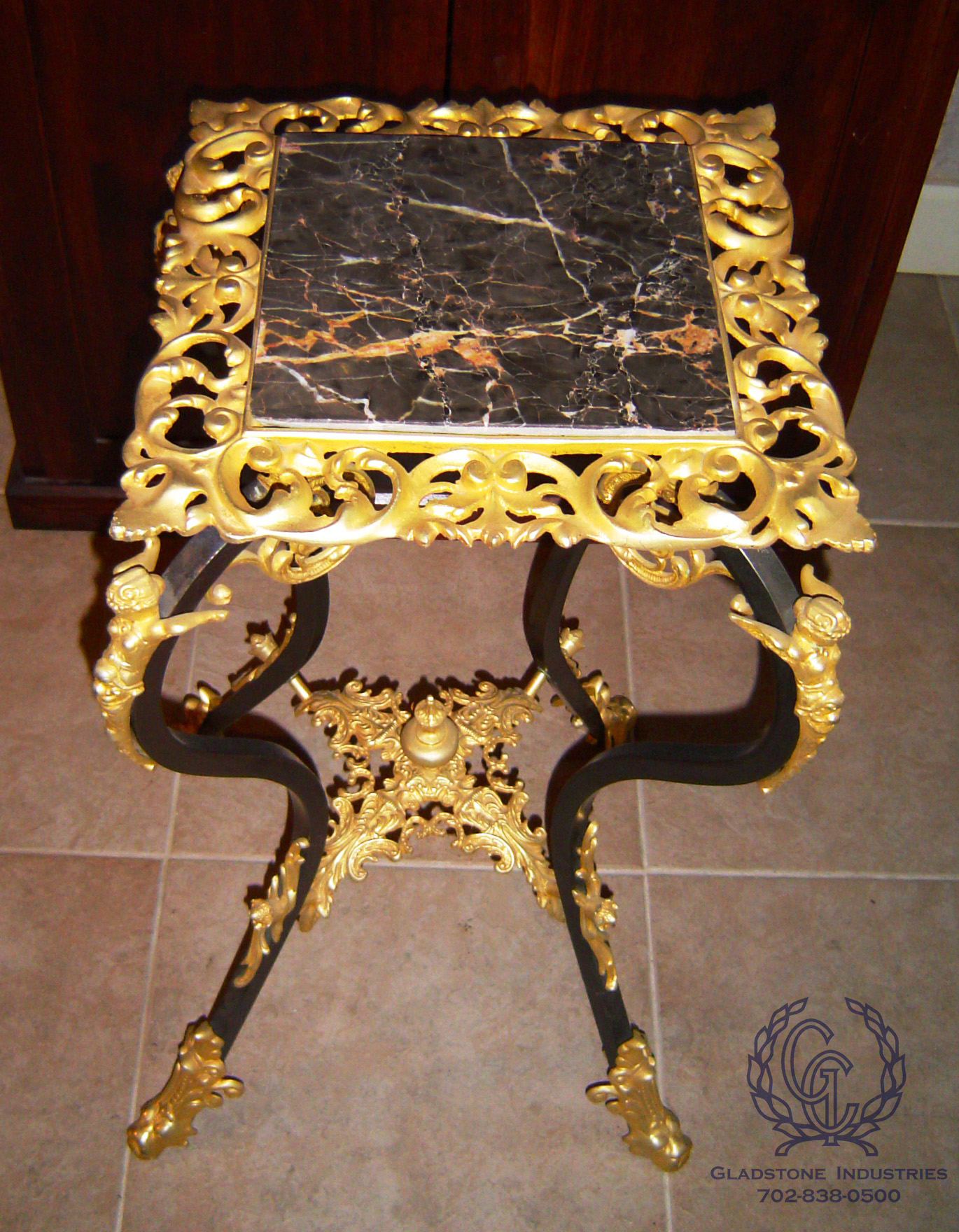 Custom Marble Top Side Table